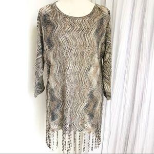 NEW Chico's Size 1 Metallic Fringe Tunic Sweater